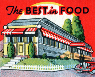 Roadside art: Green and White Diner and other diner art from matchbook covers